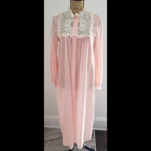 Vintage 60's Pale Pink Night Gown House Coat Robe